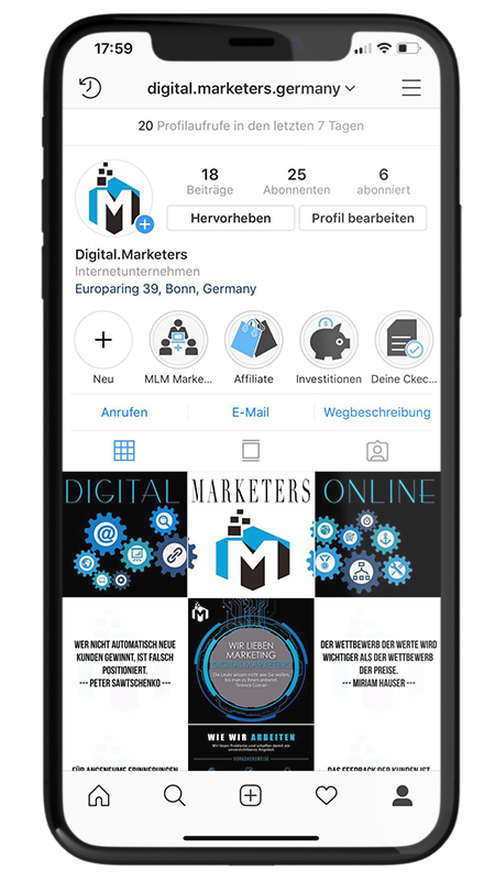 Digital Marketers Online bei Instagram